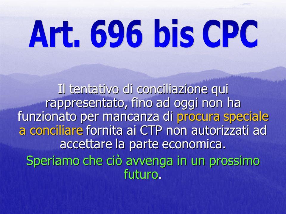 Il tentativo di conciliazione qui rappresentato, fino ad oggi non ha funzionato per mancanza di procura speciale a conciliare fornita ai CTP non autor