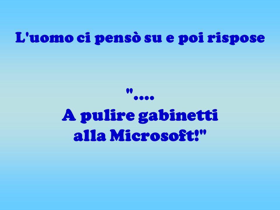 L uomo ci pensò su e poi rispose .... A pulire gabinetti alla Microsoft!