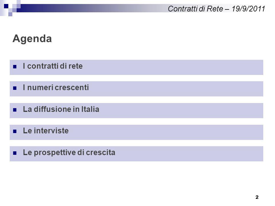 2 Agenda Contratti di Rete – 19/9/2011 I contratti di rete I numeri crescenti La diffusione in Italia Le interviste Le prospettive di crescita