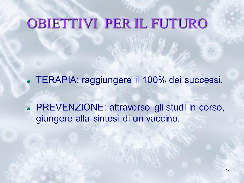 12 OBIETTIVI PER IL FUTURO TERAPIA: raggiungere il 100% dei successi. PREVENZIONE: attraverso gli studi in corso, giungere alla sintesi di un vaccino.