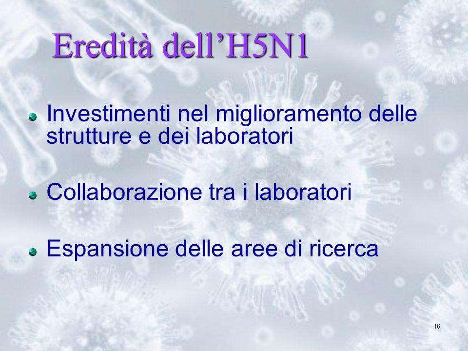 16 Eredità dellH5N1 Investimenti nel miglioramento delle strutture e dei laboratori Collaborazione tra i laboratori Espansione delle aree di ricerca