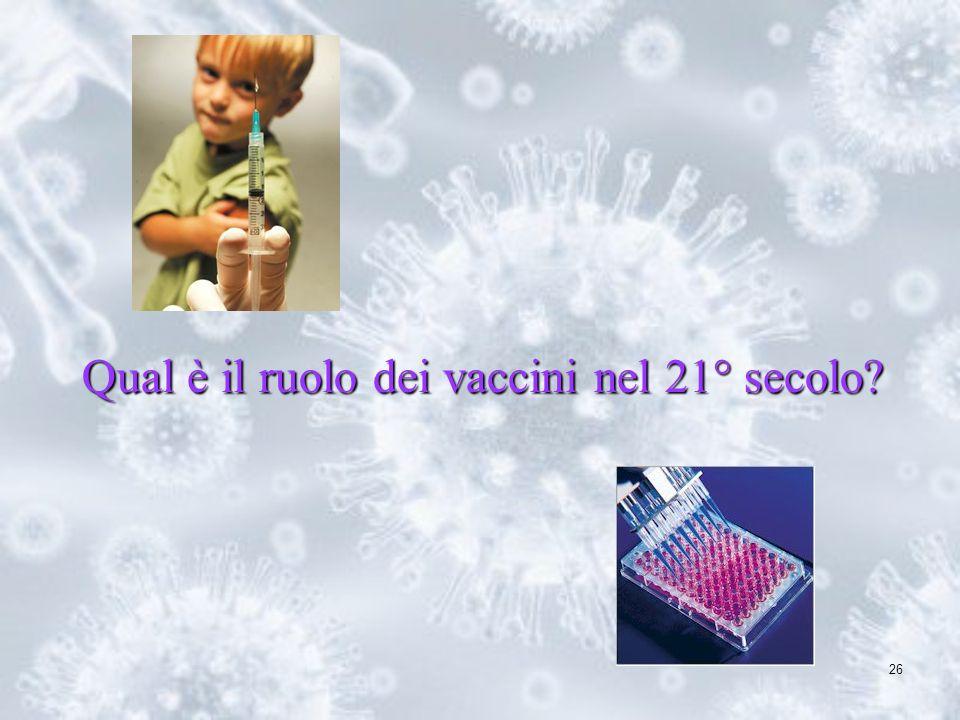 26 Qual è il ruolo dei vaccini nel 21° secolo?