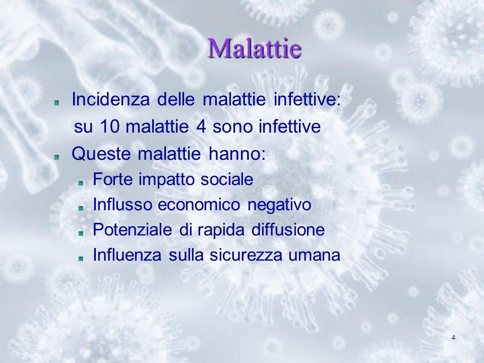4 Malattie Incidenza delle malattie infettive: su 10 malattie 4 sono infettive Queste malattie hanno: Forte impatto sociale Influsso economico negativ