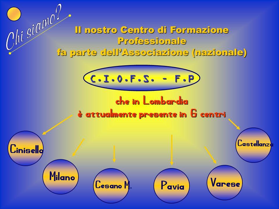 Il nostro Centro di Formazione Professionale fa parte dellAssociazione (nazionale) che in Lombardia è attualmente presente in 6 centri C.I.O.F.S.
