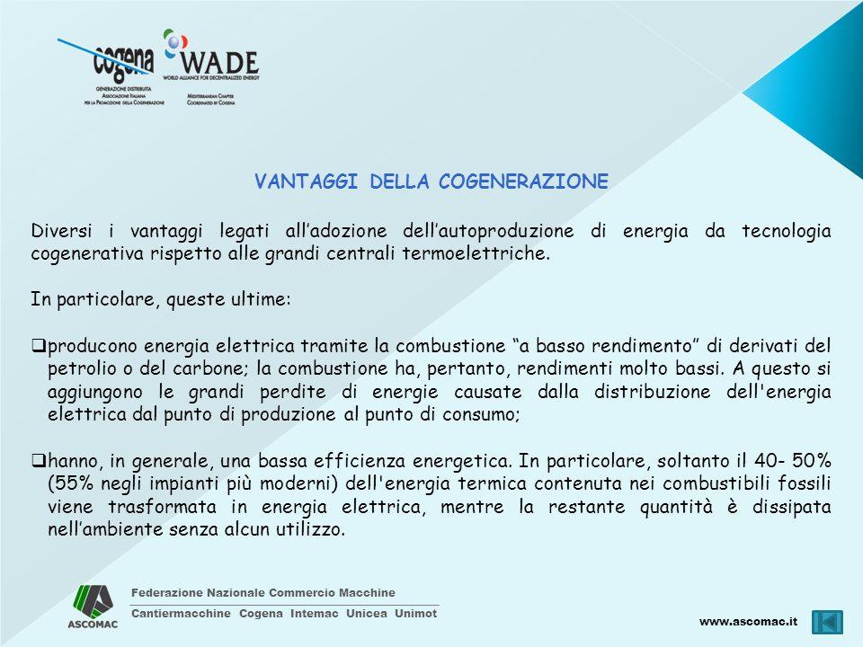 Federazione Nazionale Commercio Macchine Cantiermacchine Cogena Intemac Unicea Unimot www.ascomac.it VANTAGGI DELLA COGENERAZIONE Diversi i vantaggi l