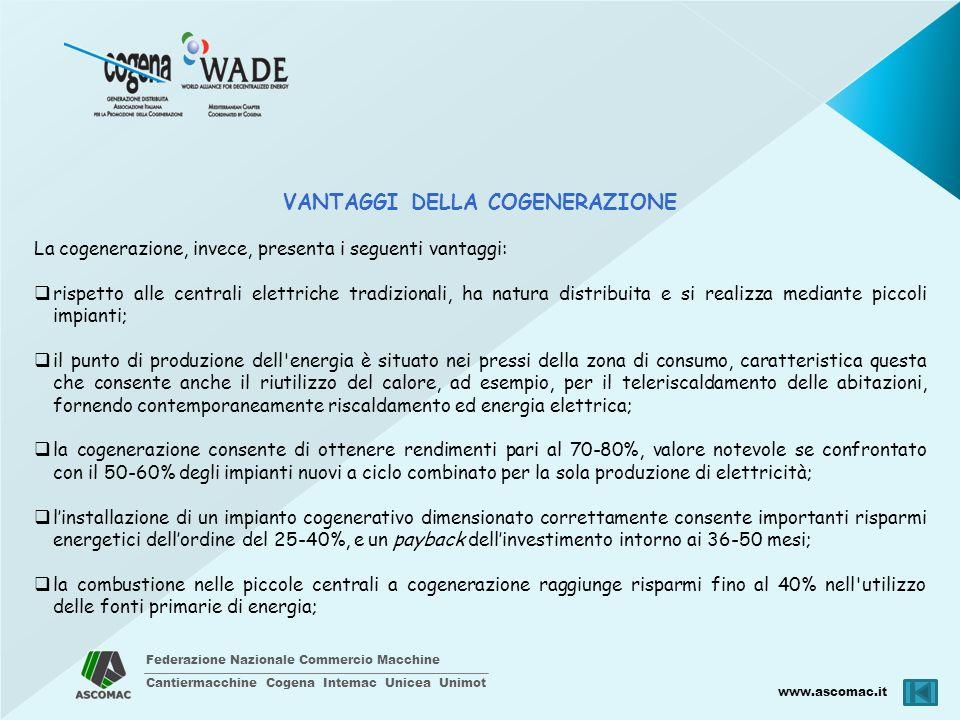 Federazione Nazionale Commercio Macchine Cantiermacchine Cogena Intemac Unicea Unimot www.ascomac.it VANTAGGI DELLA COGENERAZIONE La cogenerazione, in