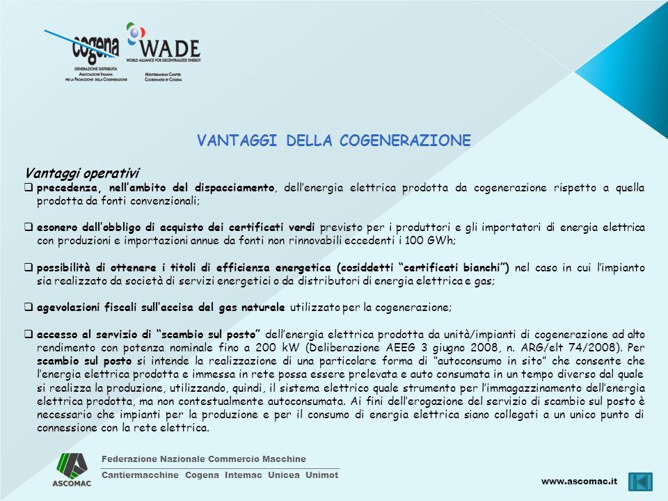 Federazione Nazionale Commercio Macchine Cantiermacchine Cogena Intemac Unicea Unimot www.ascomac.it VANTAGGI DELLA COGENERAZIONE Vantaggi operativi p