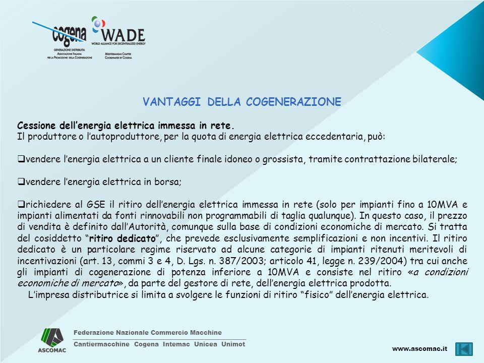 Federazione Nazionale Commercio Macchine Cantiermacchine Cogena Intemac Unicea Unimot www.ascomac.it VANTAGGI DELLA COGENERAZIONE Cessione dellenergia