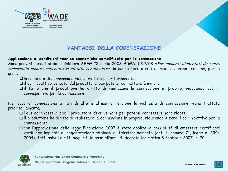 Federazione Nazionale Commercio Macchine Cantiermacchine Cogena Intemac Unicea Unimot www.ascomac.it VANTAGGI DELLA COGENERAZIONE Applicazione di cond