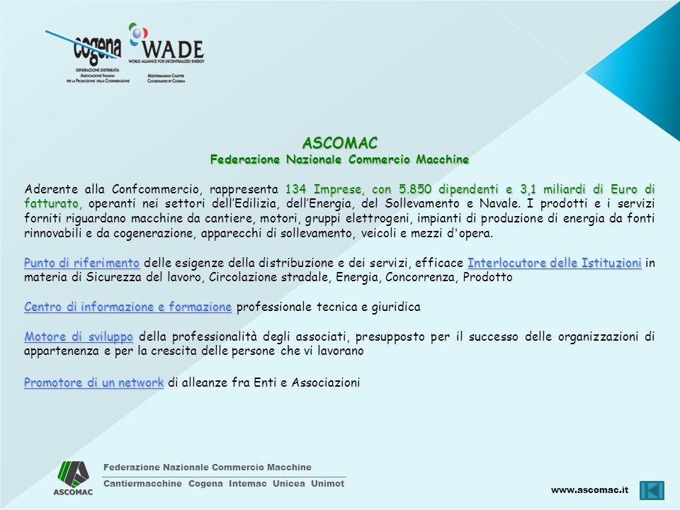 Federazione Nazionale Commercio Macchine Cantiermacchine Cogena Intemac Unicea Unimot www.ascomac.it ASCOMAC Federazione Nazionale Commercio Macchine