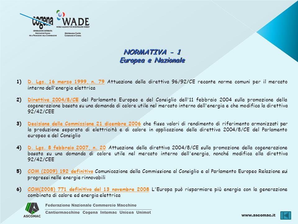 Federazione Nazionale Commercio Macchine Cantiermacchine Cogena Intemac Unicea Unimot www.ascomac.it NORMATIVA - 1 Europea e Nazionale 1)D. Lgs. 16 ma