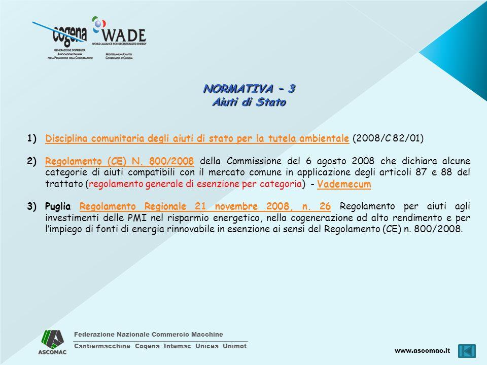 Federazione Nazionale Commercio Macchine Cantiermacchine Cogena Intemac Unicea Unimot www.ascomac.it NORMATIVA – 3 Aiuti di Stato 1)Disciplina comunit