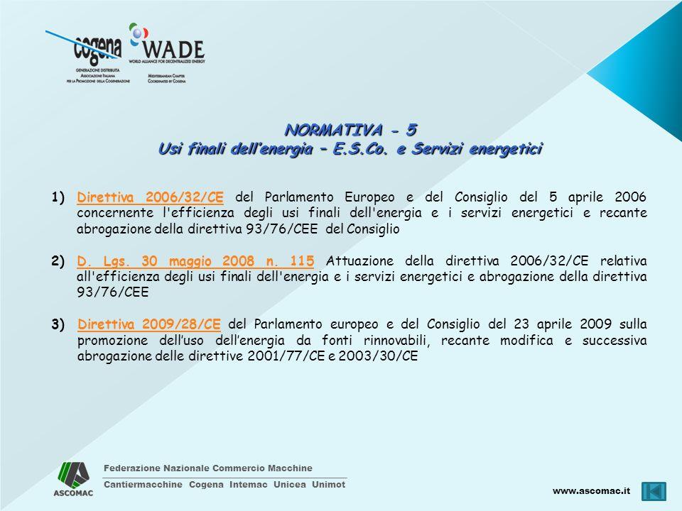 Federazione Nazionale Commercio Macchine Cantiermacchine Cogena Intemac Unicea Unimot www.ascomac.it NORMATIVA - 5 Usi finali dellenergia – E.S.Co. e
