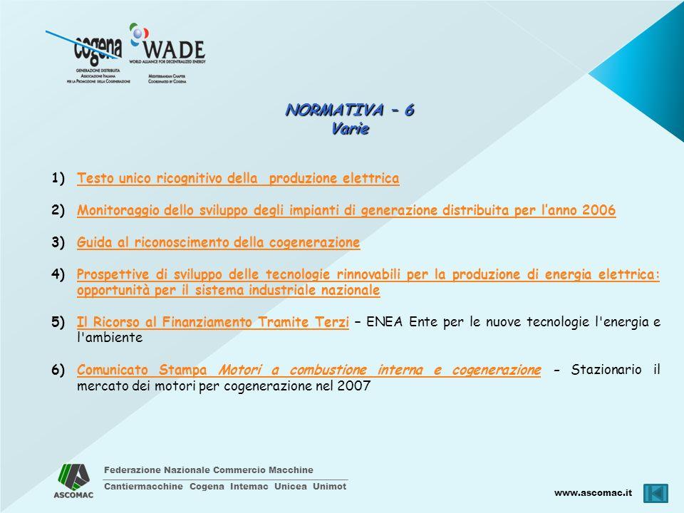 Federazione Nazionale Commercio Macchine Cantiermacchine Cogena Intemac Unicea Unimot www.ascomac.it NORMATIVA – 6 Varie 1)Testo unico ricognitivo del