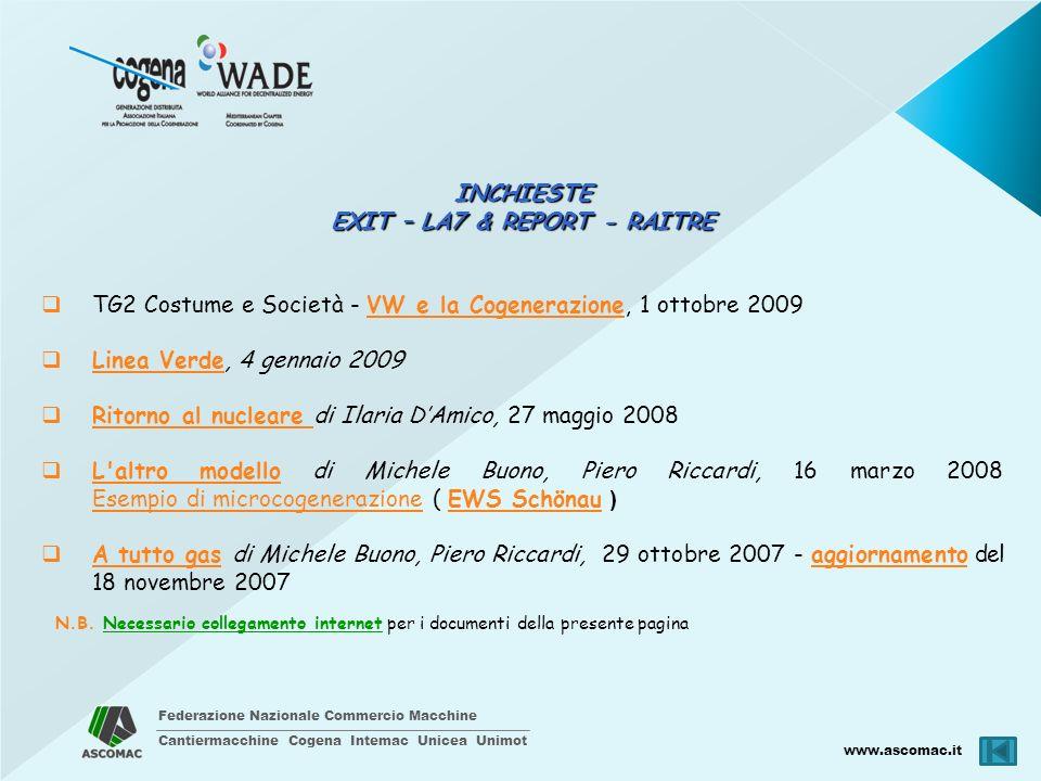 Federazione Nazionale Commercio Macchine Cantiermacchine Cogena Intemac Unicea Unimot www.ascomac.it INCHIESTE EXIT – LA7 & REPORT - RAITRE TG2 Costum
