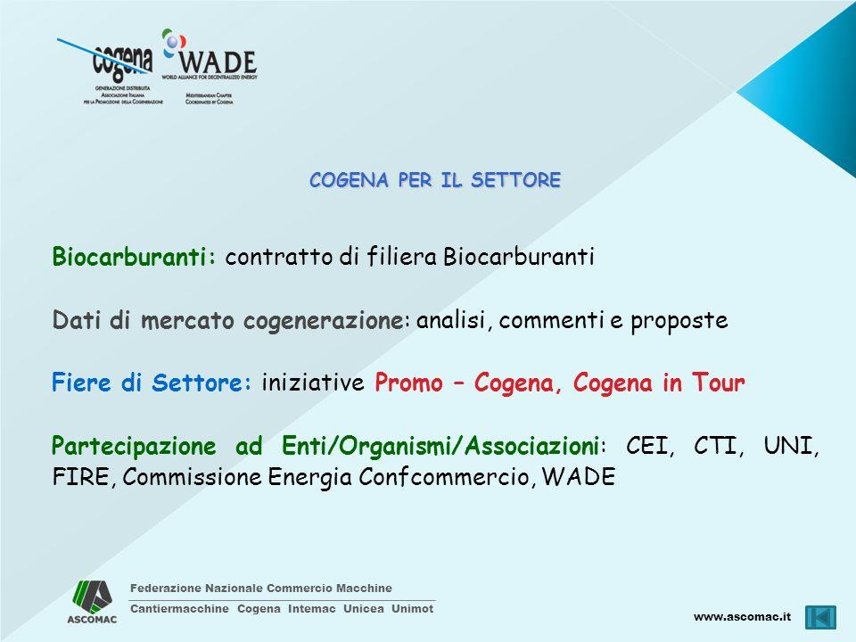 Federazione Nazionale Commercio Macchine Cantiermacchine Cogena Intemac Unicea Unimot www.ascomac.it COGENA PER IL SETTORE Biocarburanti: contratto di