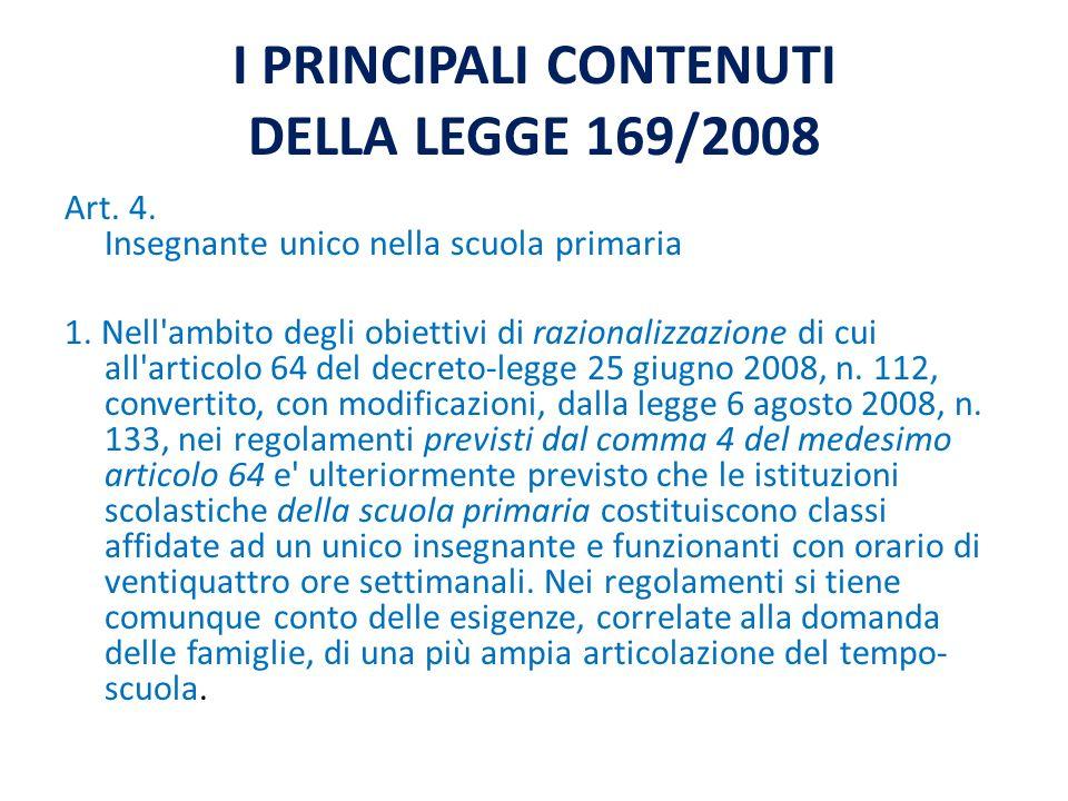 I PRINCIPALI CONTENUTI DELLA LEGGE 169/2008 Art. 4.