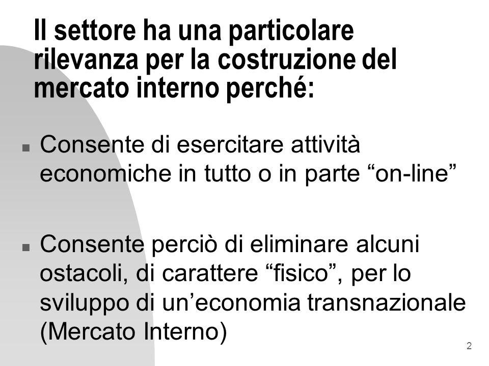 2 Il settore ha una particolare rilevanza per la costruzione del mercato interno perché: n Consente di esercitare attività economiche in tutto o in pa