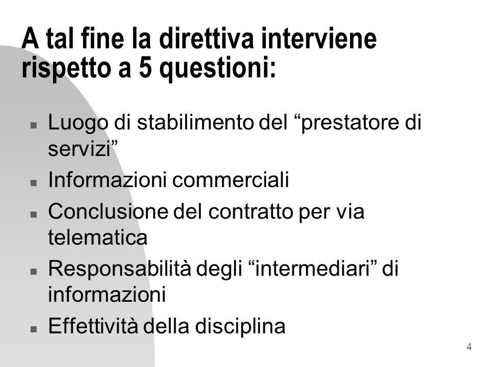4 A tal fine la direttiva interviene rispetto a 5 questioni: n Luogo di stabilimento del prestatore di servizi n Informazioni commerciali n Conclusion