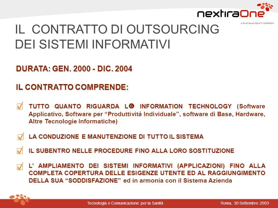 Roma, 30 Settembre 2003Tecnologia e Comunicazione per la Sanità TUTTO QUANTO RIGUARDA L INFORMATION TECHNOLOGY TUTTO QUANTO RIGUARDA L INFORMATION TEC