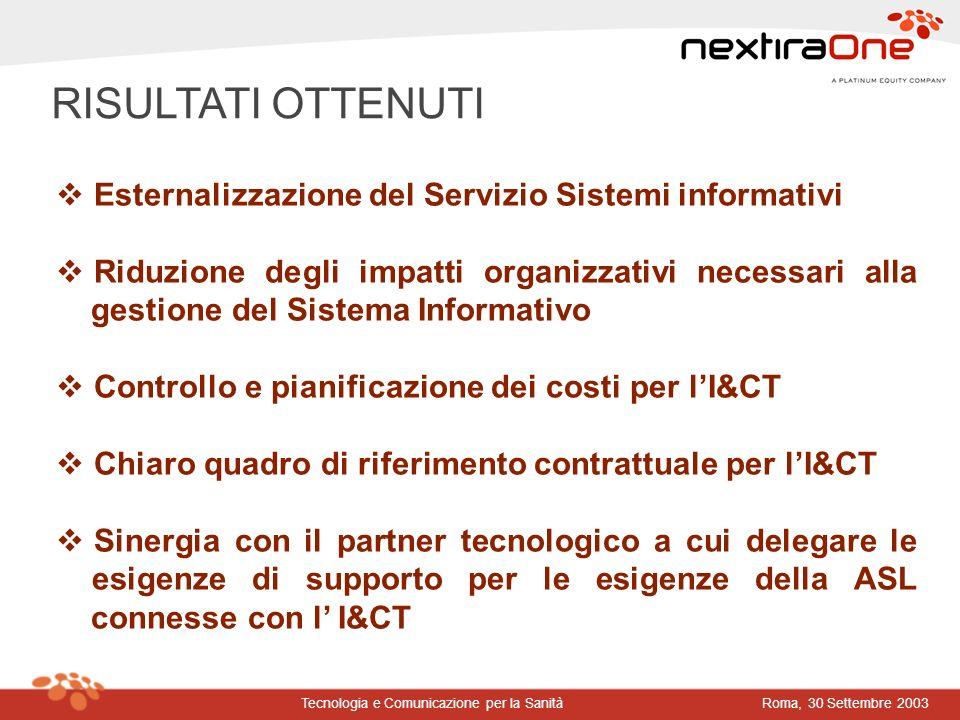 Roma, 30 Settembre 2003Tecnologia e Comunicazione per la Sanità RISULTATI OTTENUTI Esternalizzazione del Servizio Sistemi informativi Riduzione degli