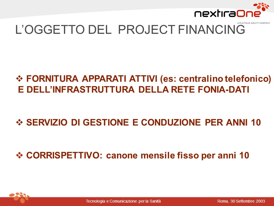 Roma, 30 Settembre 2003Tecnologia e Comunicazione per la Sanità LOGGETTO DEL PROJECT FINANCING FORNITURA APPARATI ATTIVI (es: centralino telefonico) E
