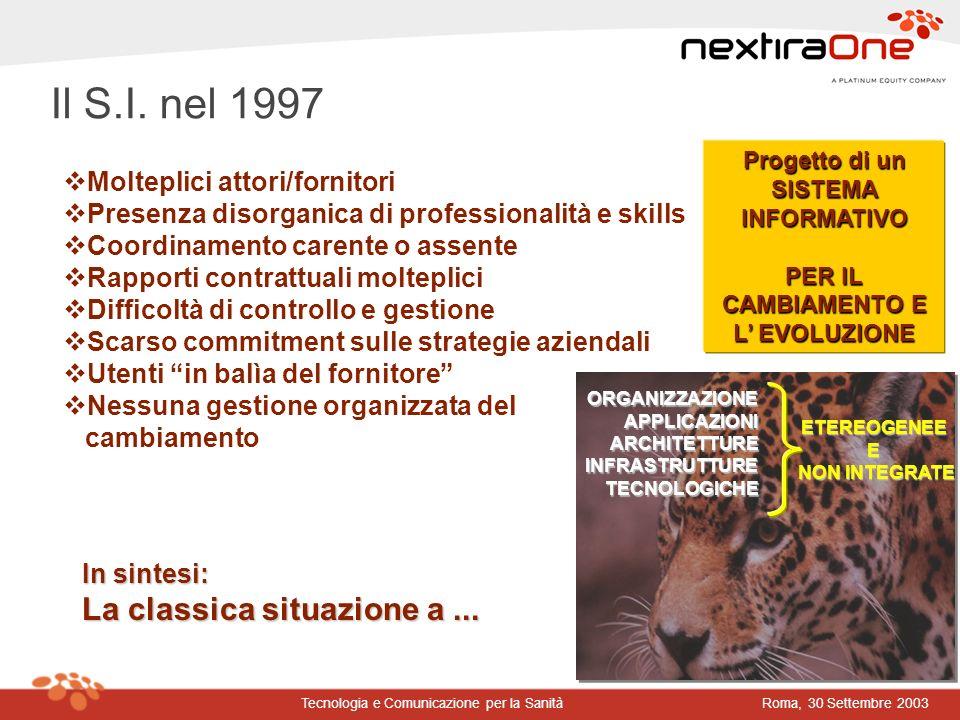 Roma, 30 Settembre 2003Tecnologia e Comunicazione per la Sanità Progetto di un SISTEMA INFORMATIVO PER IL CAMBIAMENTO E L EVOLUZIONE ETEREOGENEE E NON