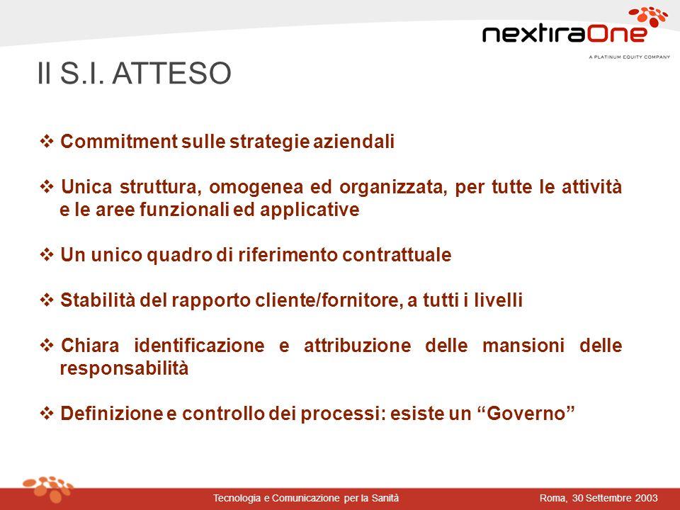 Roma, 30 Settembre 2003Tecnologia e Comunicazione per la Sanità Commitment sulle strategie aziendali Unica struttura, omogenea ed organizzata, per tut