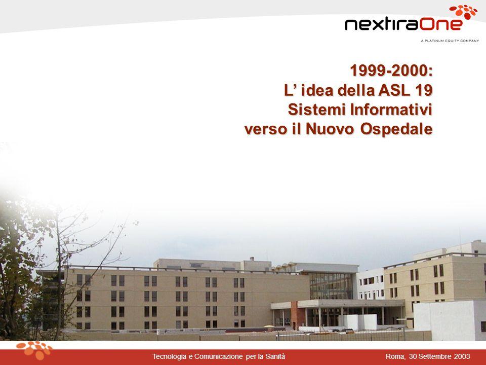 Roma, 30 Settembre 2003Tecnologia e Comunicazione per la Sanità LA REINGEGNERIZZAZIONE DEL SISTEMA AZIENDALE CENTRALITADELCITTADINOEFFICIENZAEFFICACIAECONOMICITA E3 E3 E3 E3 SCELTA STRATEGICA OUTSOURCING DEL PROGETTO S.I.