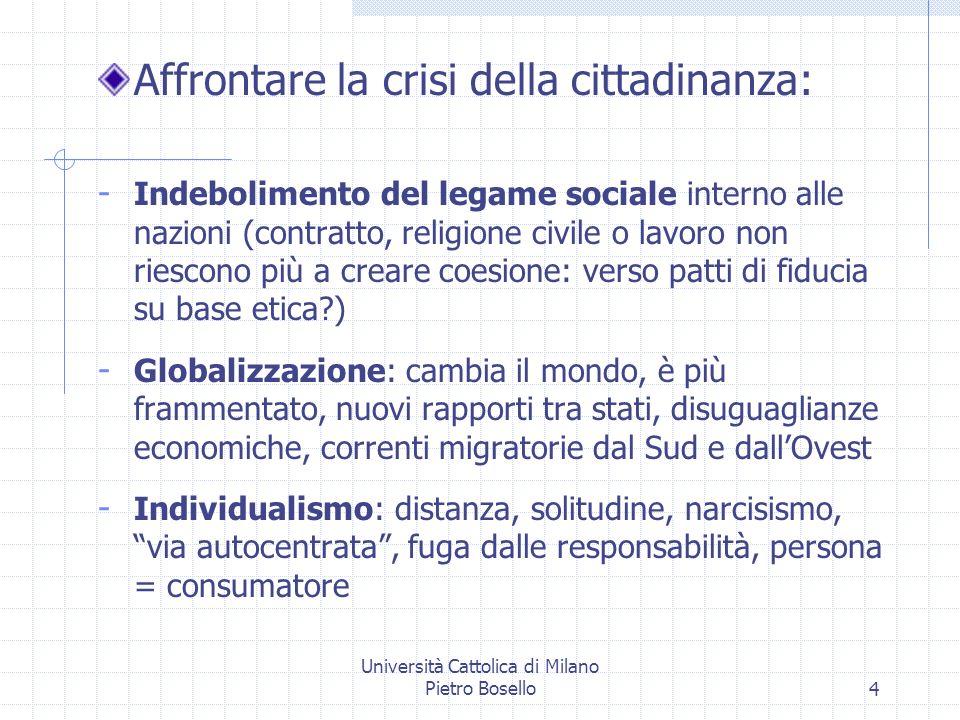 Università Cattolica di Milano Pietro Bosello4 Affrontare la crisi della cittadinanza: - Indebolimento del legame sociale interno alle nazioni (contra