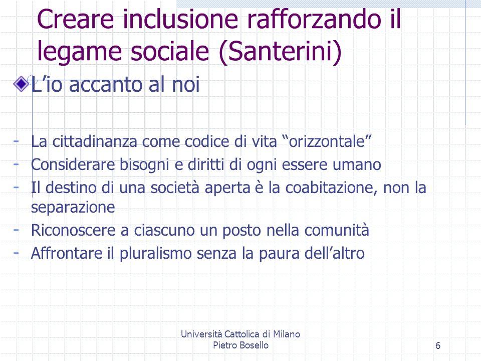 Università Cattolica di Milano Pietro Bosello6 Creare inclusione rafforzando il legame sociale (Santerini) Lio accanto al noi - La cittadinanza come c