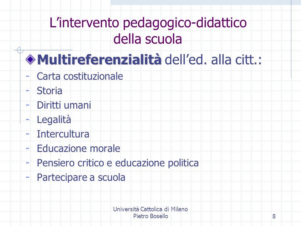 Università Cattolica di Milano Pietro Bosello9 Multidimensionalità Multidimensionalità delled.