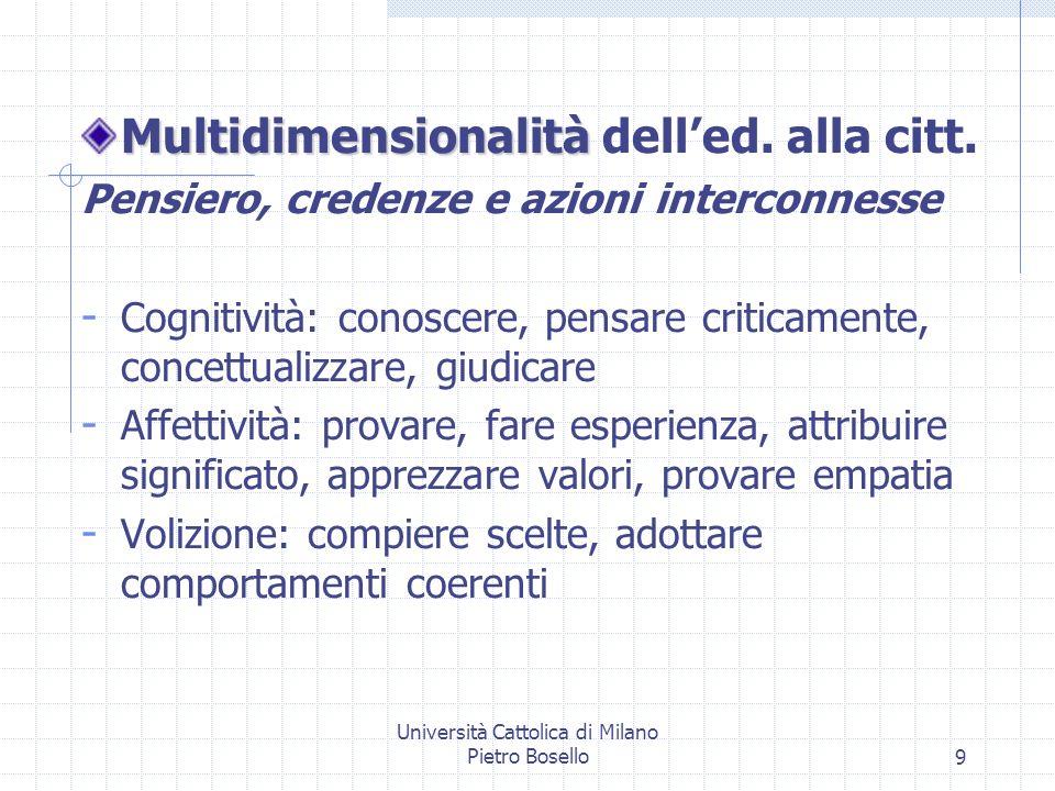 Università Cattolica di Milano Pietro Bosello9 Multidimensionalità Multidimensionalità delled. alla citt. Pensiero, credenze e azioni interconnesse -