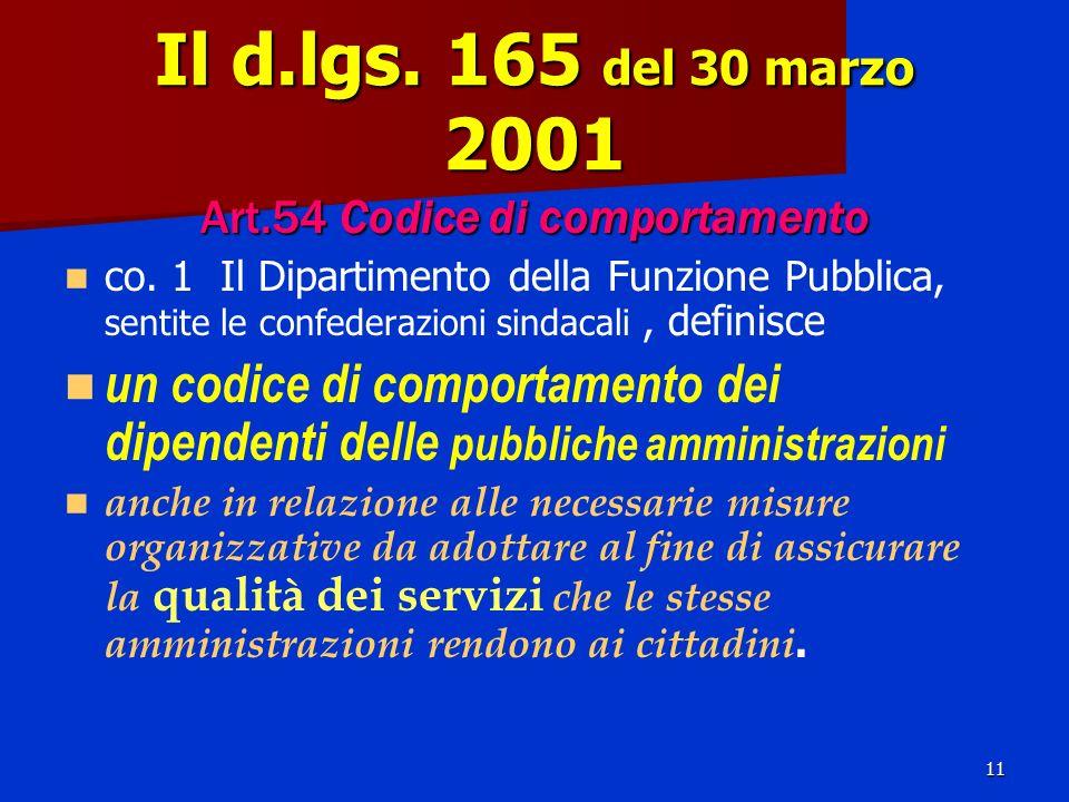 11 Il d.lgs. 165 del 30 marzo 2001 Art.54 Codice di comportamento co.