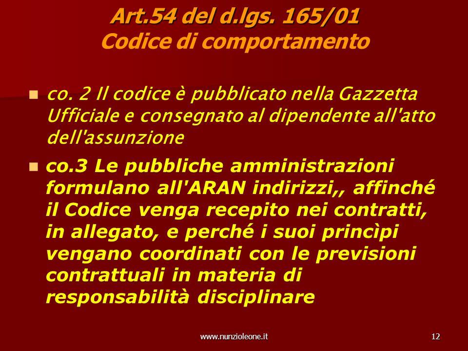 www.nunzioleone.it12 Art.54 del d.lgs. 165/01 Art.54 del d.lgs.