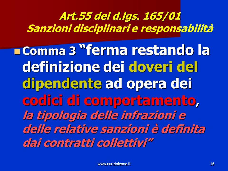 www.nunzioleone.it16 Art.55 del d.lgs. 165/01 Art.55 del d.lgs.