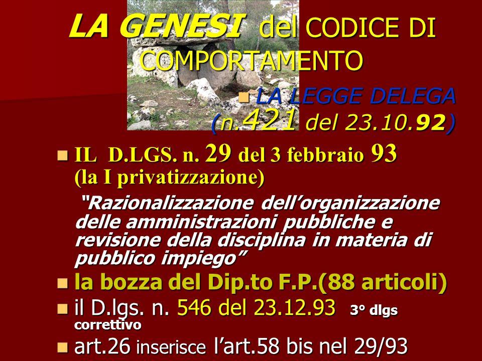 LA GENESI del CODICE DI COMPORTAMENTO LA LEGGE DELEGA (n.