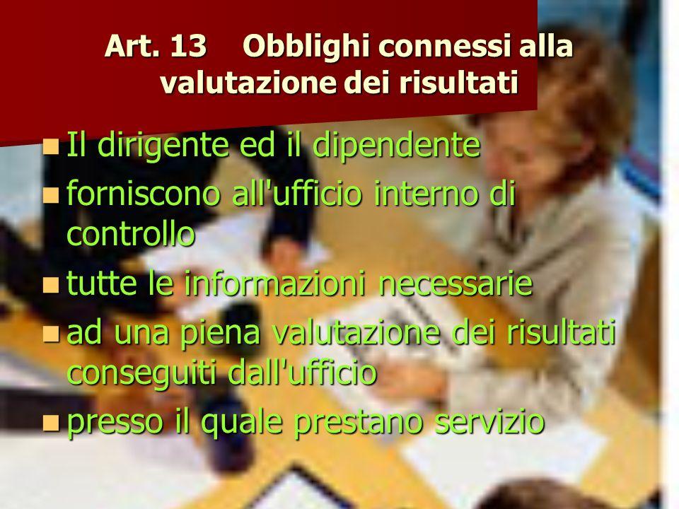 Art. 13 Obblighi connessi alla valutazione dei risultati Il dirigente ed il dipendente Il dirigente ed il dipendente forniscono all'ufficio interno di