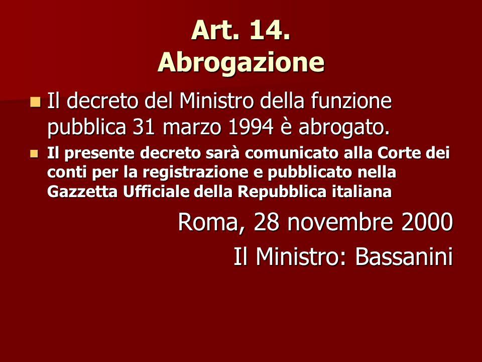 Art. 14. Abrogazione Il decreto del Ministro della funzione pubblica 31 marzo 1994 è abrogato.
