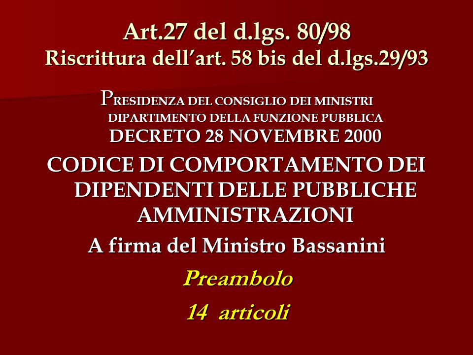 Art.27 del d.lgs. 80/98 Riscrittura dellart.