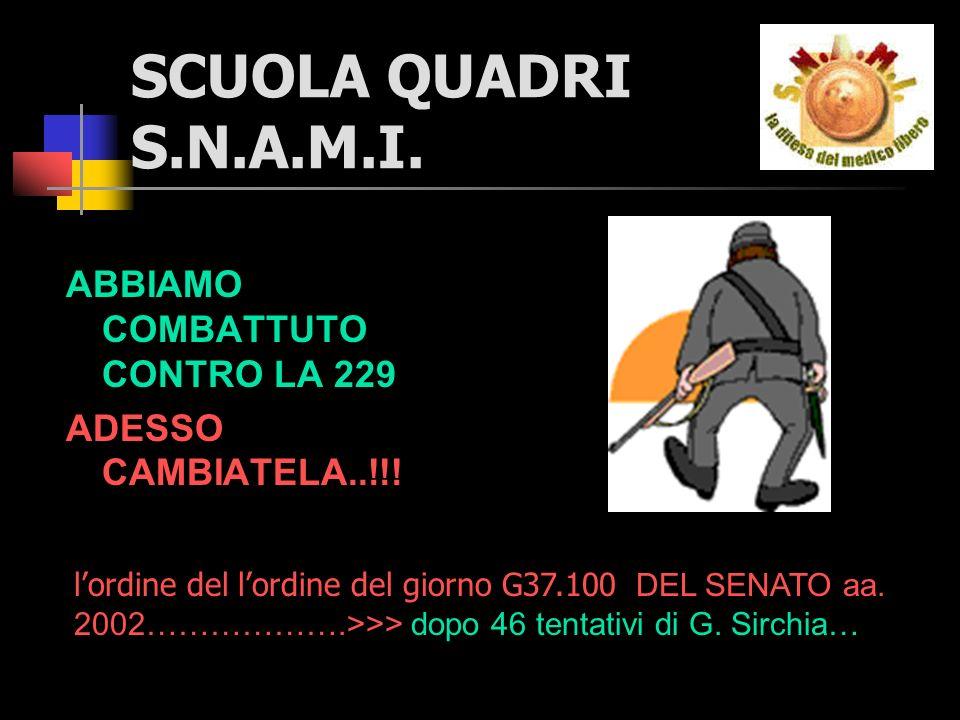 SCUOLA QUADRI S.N.A.M.I. ABBIAMO COMBATTUTO CONTRO LA 229 ADESSO CAMBIATELA..!!.