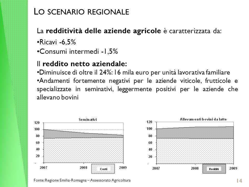 14 L O SCENARIO REGIONALE La redditività delle aziende agricole è caratterizzata da: Ricavi -6,5% Consumi intermedi -1,5% Il reddito netto aziendale: Diminuisce di oltre il 24%: 16 mila euro per unità lavorativa familiare Andamenti fortemente negativi per le aziende viticole, frutticole e specializzate in seminativi, leggermente positivi per le aziende che allevano bovini Fonte: Regione Emilia-Romagna – Assessorato Agricoltura