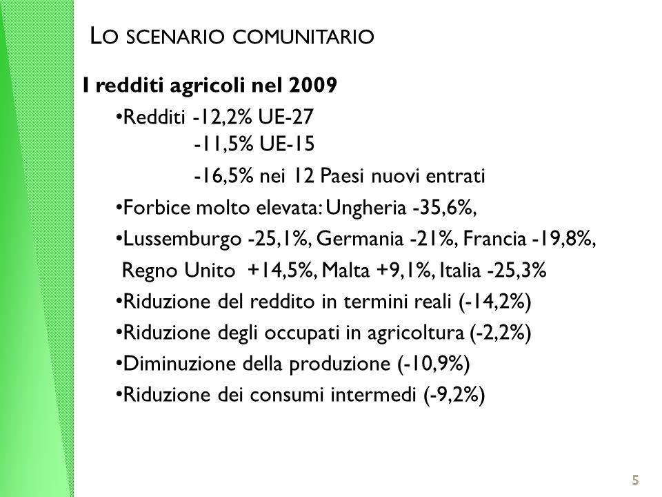 5 I redditi agricoli nel 2009 Redditi -12,2% UE-27 -11,5% UE-15 -16,5% nei 12 Paesi nuovi entrati Forbice molto elevata: Ungheria -35,6%, Lussemburgo -25,1%, Germania -21%, Francia -19,8%, Regno Unito +14,5%, Malta +9,1%, Italia -25,3% Riduzione del reddito in termini reali (-14,2%) Riduzione degli occupati in agricoltura (-2,2%) Diminuzione della produzione (-10,9%) Riduzione dei consumi intermedi (-9,2%) L O SCENARIO COMUNITARIO