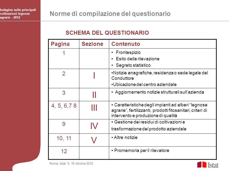 Norme di compilazione del questionario Indagine sulle principali coltivazioni legnose agrarie - 2012 Roma, Istat 9, 10 ottobre 2012 PaginaSezioneConte