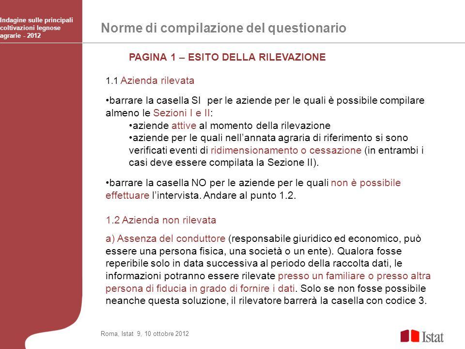 Norme di compilazione del questionario Indagine sulle principali coltivazioni legnose agrarie - 2012 Roma, Istat 9, 10 ottobre 2012 PAGINA 1 – ESITO D
