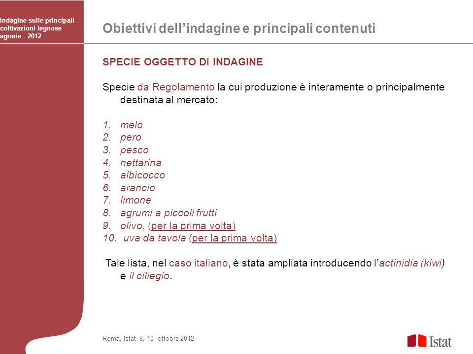 Obiettivi dellindagine e principali contenuti Indagine sulle principali coltivazioni legnose agrarie - 2012 Roma, Istat 9, 10 ottobre 2012 SPECIE OGGE