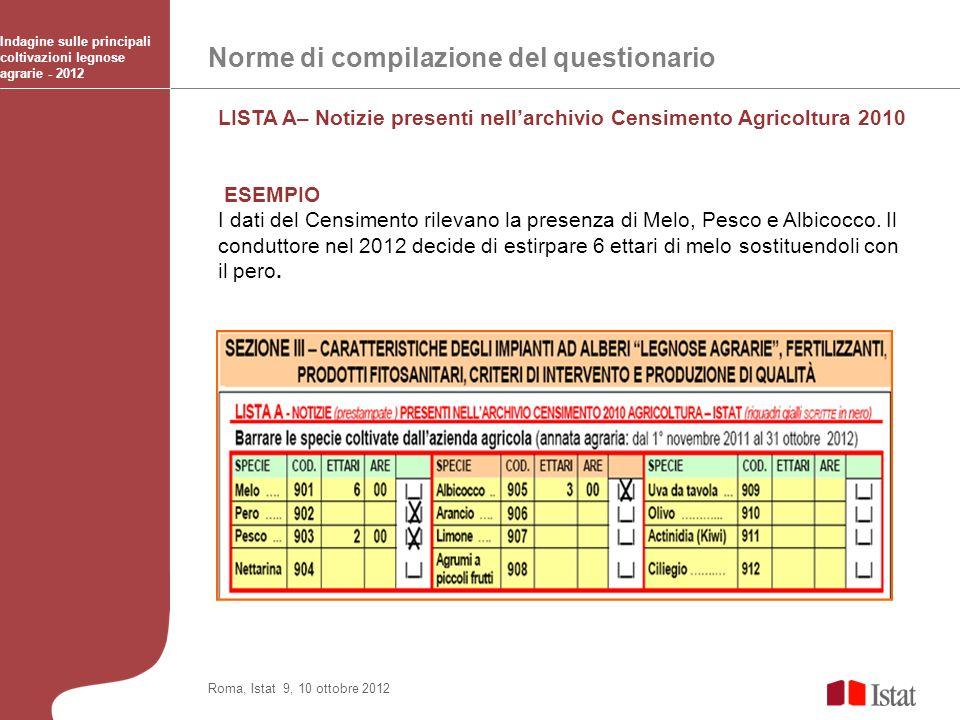 Norme di compilazione del questionario Indagine sulle principali coltivazioni legnose agrarie - 2012 Roma, Istat 9, 10 ottobre 2012 LISTA A– Notizie p