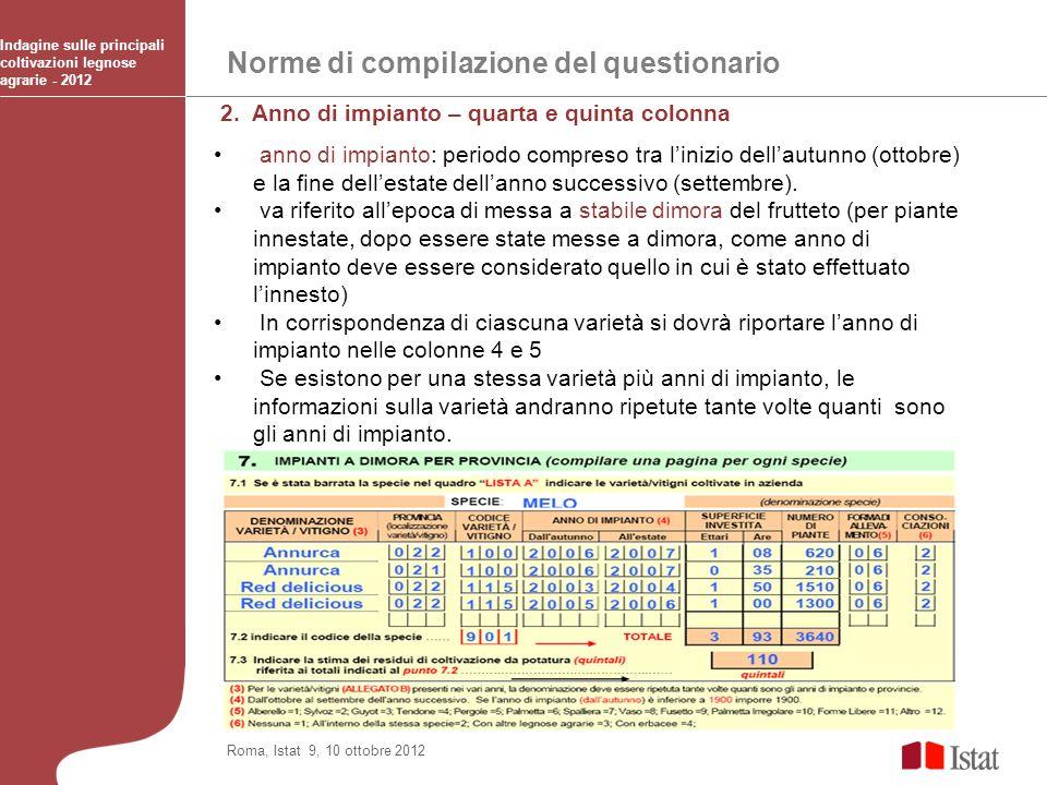 Norme di compilazione del questionario Indagine sulle principali coltivazioni legnose agrarie - 2012 Roma, Istat 9, 10 ottobre 2012 2. Anno di impiant
