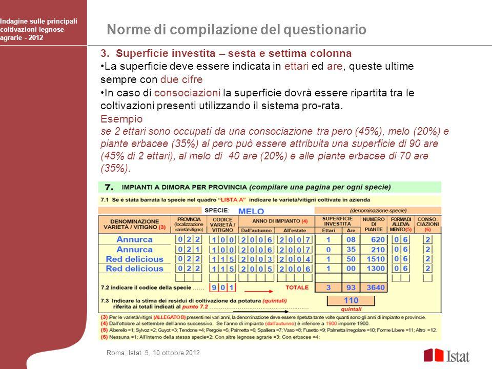 Norme di compilazione del questionario Indagine sulle principali coltivazioni legnose agrarie - 2012 Roma, Istat 9, 10 ottobre 2012 3. Superficie inve