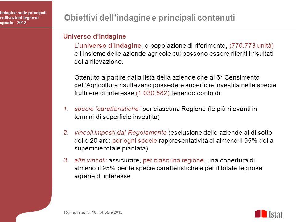 Obiettivi dellindagine e principali contenuti Indagine sulle principali coltivazioni legnose agrarie - 2012 Roma, Istat 9, 10, ottobre 2012 Universo d